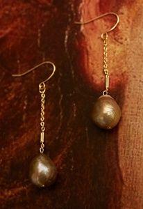 Long pearl earrings-peach pink color